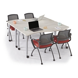 Agile Set of Two Curve Mobile Adjustable Height Tables, 46890