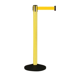 Yellow Aluminum Crowd Control Post with 10' Yellow Belt, 87935