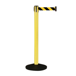 Yellow Aluminum Crowd Control Post with 10' Warning Belt, 87936