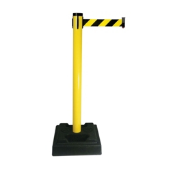 "Outdoor PVC Crowd Control Post with 10' Caution Belt - 40""H, 87951"