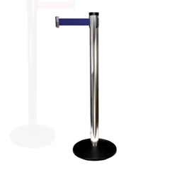 "Polished Aluminum Crowd Control Post with 10' Belt - 40""H, 87958"