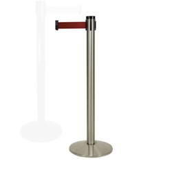 "Polished Aluminum Crowd Control Post with 10' Belt - 40""H, 87961"