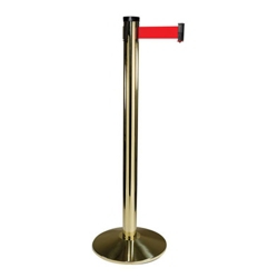 "Polished Brass Crowd Control Post with 10' Belt - 40""H, 87963"