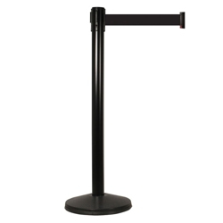 "Black Steel Crowd Control Post with 10' Black Belt - 40""H, 87967"