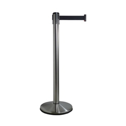 """Polished Stainless Steel Crowd Control Post with 10' Black Belt - 40""""H, 87970"""