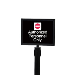 "Satin Chrome Sign Frame for Crowd Control Post-  8.5""W x 11""H, 87974"