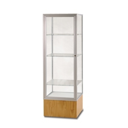 "Lockable Display Case with Oak Base - 72"" H, 36458"