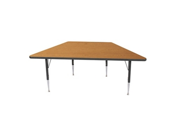 "Adjustable Height Trapezoid 30"" x 60"" Activity Table with Armor Edge, 46353"