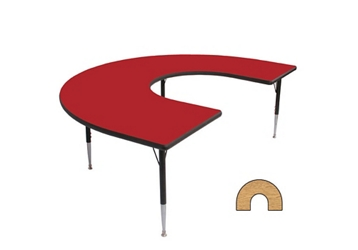 "Adjustable Height Horseshoe Shaped 60"" x 66"" Activity Table with Armor Edge, 46357"