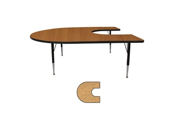 "Adjustable Height Kidney Shaped 48"" x 72"" Activity Table with Armor Edge, 46354"