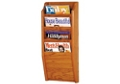Oak Literature Rack with 4 Magazine Pockets, 33025