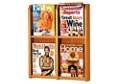 Oak Literature Rack with Acrylic Front 4 Magazine Pockets, 33035