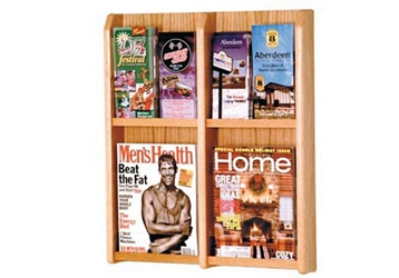 Oak Literature Rack with Acrylic Front 2 Magazine & 4 Brochure Pockets, 33036