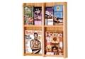 Oak Literature Rack with Acrylic Front 2 Magazine & 4 Brochure Pockets, 33036
