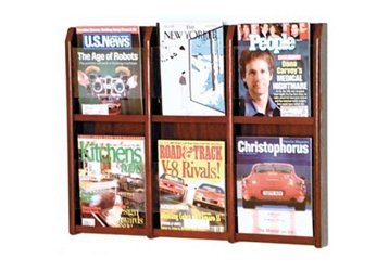 Oak Literature Rack with Acrylic Front 6 Magazine Pockets, 33037