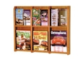 Oak Literature Rack with Acrylic Front 3 Magazine & 6 Brochure Pockets, 33038