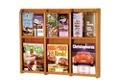 Oak Literature Rack with Acrylic Front 3 Magazine & 6 Brochure Pockets, 33038