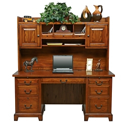 "Double Pedestal Desk with Hutch - 66""W, 15873"