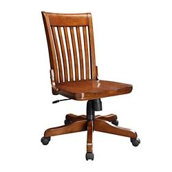 Slat Back Armless Wood Office Chair, 55115