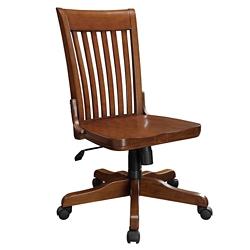 Slat Back Armless Wood Office Chair, 55114