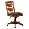 Wood Back Chair with Faux Leather Seat, 55131