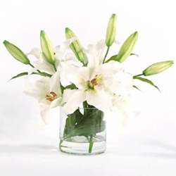 "White Lilies in Glass- 14""H, 93004"