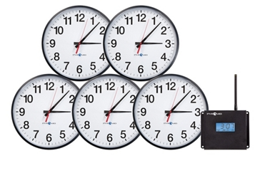 "Synchronized Set of Five 13""Analog Clocks, 82784"
