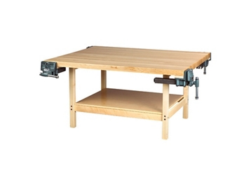 """Four Person Maple Workbench with Two Vices - 54"""" x 64"""", 92177"""