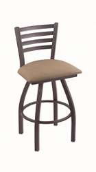 "Faux Leather or Wood Big & Tall Stool w/Back - 30""H Swivel Seat, 57204"