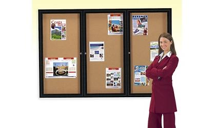 Enclosed 2-Door Bulletin Board 36x48, 80731