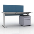 "Compact Height Adjustable Desk with Privacy Screen and Mobile File - 48""W, 14141"