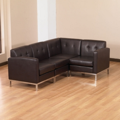 Faux Leather L Sofa, 75353