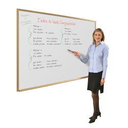3' x 2'  Wood Frame Porcelain Whiteboard, 80252