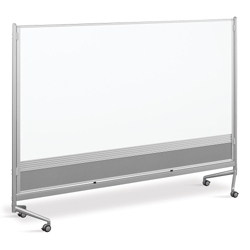 8'W x 6'H Dual Sided Mobile Whiteboard/Corkboard, 80291