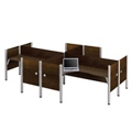 "Four Person L-Shaped Workstation with 12 43""H Privacy Panels, 13227"