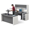 Executive U-Desk with Adjustable Height Bridge, 14792