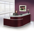 "Esquire Glass Top Reception Desk with ADA Return- 95""W x 64""D, 10350"