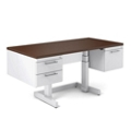 "Adjustable Height Desk with Half Pedestals - 66""W x 36""D, 10393"