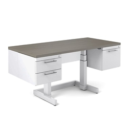 "Adjustable Height Desk with Half Pedestals - 66""W x 30""D, 10390"