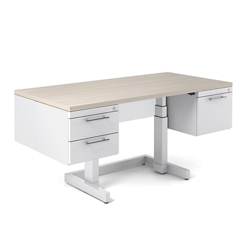 "Adjustable Height Desk with Half Pedestals - 60""W x 30""D, 10389"