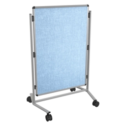 Vinyl Surface Adjustable Height Mobile Bulletin Board, 80349
