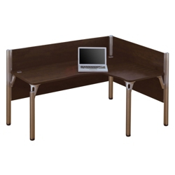 "Right L-Desk with Two 43""H Privacy Panels, 13212"
