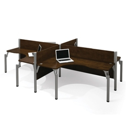 "Four Person L-Shaped Workstation with Four 43""H Privacy Panels, 13225"