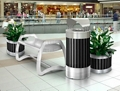 Bench and Receptacle Set with Two Planters, 82871
