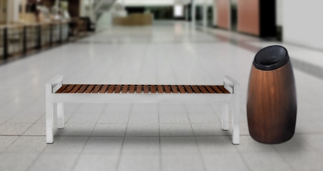 Wood Slate Bench and Waste Receptacle, 82870