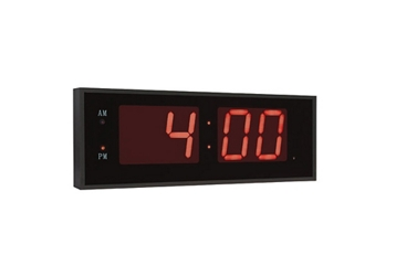 "Digital LED Clock with 8"" Red Numerals - 40""W, 82746"