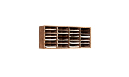 Oak Literature Organizer with 24 Pockets, 33051