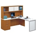 "Glass Panel L-Desk with Hutch - 72"", 13715-1"