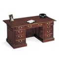 "Traditional English Cherry Executive Desk - 72"" x 36"", 15057"