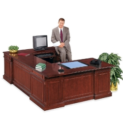 English Cherry Executive U-Desk with Right Bridge, 15062